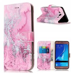 Pink Seawater PU Leather Wallet Case for Samsung Galaxy J5 2016 J510