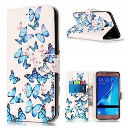 Blue Vivid Butterflies PU Leather Wallet Case for Samsung Galaxy J5 2016 J510