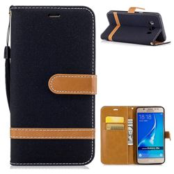 Jeans Cowboy Denim Leather Wallet Case for Samsung Galaxy J5 2016 J510 - Black