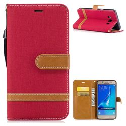 Jeans Cowboy Denim Leather Wallet Case for Samsung Galaxy J5 2016 J510 - Red