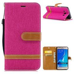 Jeans Cowboy Denim Leather Wallet Case for Samsung Galaxy J5 2016 J510 - Rose