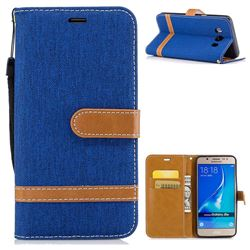 Jeans Cowboy Denim Leather Wallet Case for Samsung Galaxy J5 2016 J510 - Sapphire