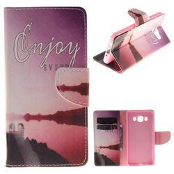 Seaside Scenery PU Leather Wallet Case for Samsung Galaxy J5 2016 J510