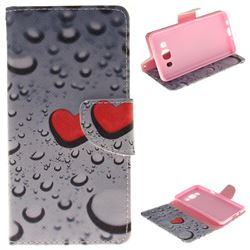 Heart Raindrop PU Leather Wallet Case for Samsung Galaxy J5 2016 J510