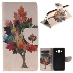 Colored Tree PU Leather Wallet Case for Samsung Galaxy J5 2016 J510