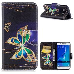 Golden Shining Butterfly Leather Wallet Case for Samsung Galaxy J5 2016 J510