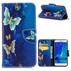 Golden Butterflies Leather Wallet Case for Samsung Galaxy J5 2016 J510