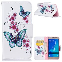 Peach Butterflies Leather Wallet Case for Samsung Galaxy J5 2016 J510