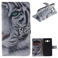 White Tiger PU Leather Wallet Case for Samsung Galaxy J5 2016 J510