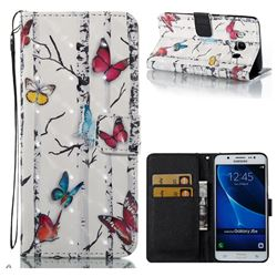 Colored Butterflies 3D Painted Leather Wallet Case for Samsung Galaxy J5 2016 J510