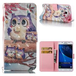 Purple Owl 3D Painted Leather Wallet Case for Samsung Galaxy J5 2016 J510