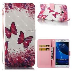 Rose Butterfly 3D Painted Leather Wallet Case for Samsung Galaxy J5 2016 J510