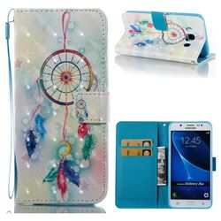 Feather Wind Chimes 3D Painted Leather Wallet Case for Samsung Galaxy J5 2016 J510