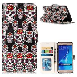 Flower Skull 3D Relief Oil PU Leather Wallet Case for Samsung Galaxy J5 2016 J510