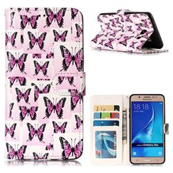 Butterflies Stickers 3D Relief Oil PU Leather Wallet Case for Samsung Galaxy J5 2016 J510