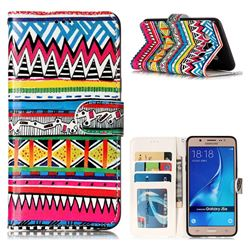 Tribal Pattern 3D Relief Oil PU Leather Wallet Case for Samsung Galaxy J5 2016 J510