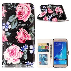Peony 3D Relief Oil PU Leather Wallet Case for Samsung Galaxy J5 2016 J510