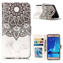 Marble Mandala 3D Relief Oil PU Leather Wallet Case for Samsung Galaxy J5 2016 J510