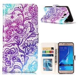 Purple Lotus 3D Relief Oil PU Leather Wallet Case for Samsung Galaxy J5 2016 J510