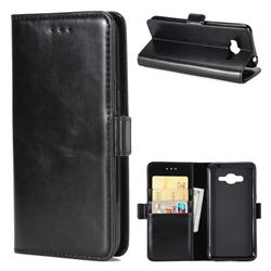 Luxury Crazy Horse PU Leather Wallet Case for Samsung Galaxy J5 2016 J510 - Black