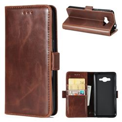 Luxury Crazy Horse PU Leather Wallet Case for Samsung Galaxy J5 2016 J510 - Coffee