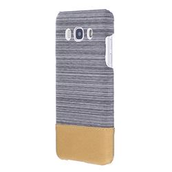 Canvas Cloth Coated Plastic Back Cover for Samsung Galaxy J5 2016 J510 - Light Grey