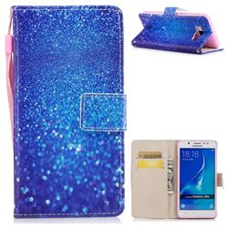 Blue Powder PU Leather Wallet Case for Samsung Galaxy J5 2016 J510