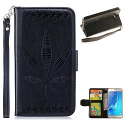 Intricate Embossing Maple Leather Wallet Case for Samsung Galaxy J5 2016 J510 - Black
