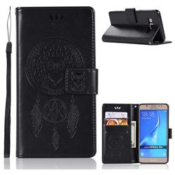 Intricate Embossing Owl Campanula Leather Wallet Case for Samsung Galaxy J5 2016 J510 - Black