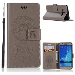 Intricate Embossing Owl Campanula Leather Wallet Case for Samsung Galaxy J5 2016 J510 - Grey