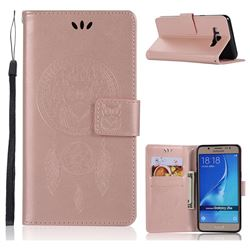 Intricate Embossing Owl Campanula Leather Wallet Case for Samsung Galaxy J5 2016 J510 - Rose Gold