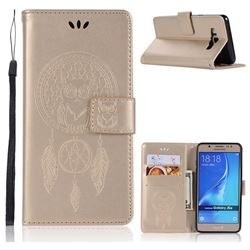 Intricate Embossing Owl Campanula Leather Wallet Case for Samsung Galaxy J5 2016 J510 - Champagne