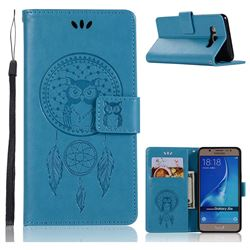 Intricate Embossing Owl Campanula Leather Wallet Case for Samsung Galaxy J5 2016 J510 - Blue