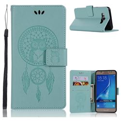 Intricate Embossing Owl Campanula Leather Wallet Case for Samsung Galaxy J5 2016 J510 - Green