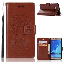 Intricate Embossing Owl Campanula Leather Wallet Case for Samsung Galaxy J5 2016 J510 - Brown