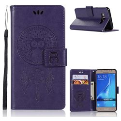 Intricate Embossing Owl Campanula Leather Wallet Case for Samsung Galaxy J5 2016 J510 - Purple