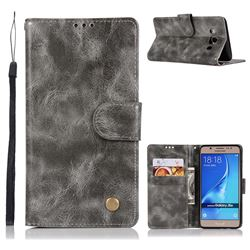 Luxury Retro Leather Wallet Case for Samsung Galaxy J5 2016 J510 - Gray
