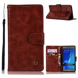 Luxury Retro Leather Wallet Case for Samsung Galaxy J5 2016 J510 - Wine Red