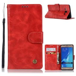 Luxury Retro Leather Wallet Case for Samsung Galaxy J5 2016 J510 - Red