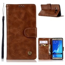 Luxury Retro Leather Wallet Case for Samsung Galaxy J5 2016 J510 - Brown