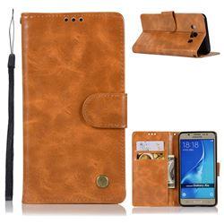 Luxury Retro Leather Wallet Case for Samsung Galaxy J5 2016 J510 - Golden