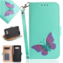 Imprint Embossing Butterfly Leather Wallet Case for Samsung Galaxy J5 2016 J510 - Mint Green