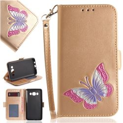 Imprint Embossing Butterfly Leather Wallet Case for Samsung Galaxy J5 2016 J510 - Golden