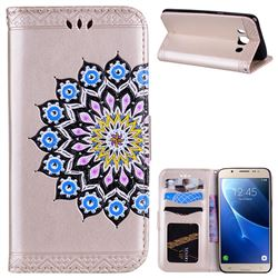 Datura Flowers Flash Powder Leather Wallet Holster Case for Samsung Galaxy J5 2016 J510 - Golden