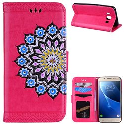 Datura Flowers Flash Powder Leather Wallet Holster Case for Samsung Galaxy J5 2016 J510 - Rose
