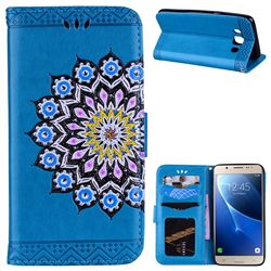 Datura Flowers Flash Powder Leather Wallet Holster Case for Samsung Galaxy J5 2016 J510 - Blue