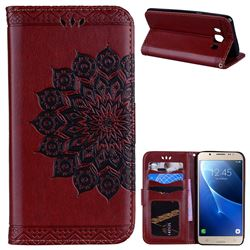 Datura Flowers Flash Powder Leather Wallet Holster Case for Samsung Galaxy J5 2016 J510 - Brown