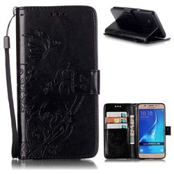Embossing Butterfly Flower Leather Wallet Case for Samsung Galaxy J5 2016 J510 - Black