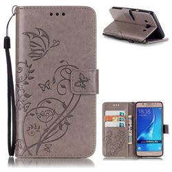 Embossing Butterfly Flower Leather Wallet Case for Samsung Galaxy J5 2016 J510 - Grey