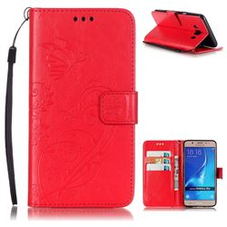 Embossing Butterfly Flower Leather Wallet Case for Samsung Galaxy J5 2016 J510 - Red